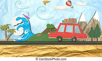 3D Illustration of the concept of a summer escape or journey at the morning.