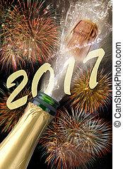 años, el hacer estallar, botella, nuevo,  2017, champaña, corcho