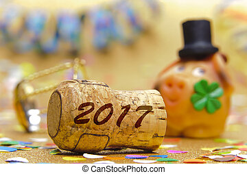 lucky pig as symbol for luck and success in year 2017 -...
