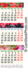 Calendar for June July and August 2017 with colored images -...