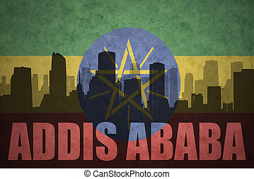 abstract silhouette of the city with text Addis Ababa at the...