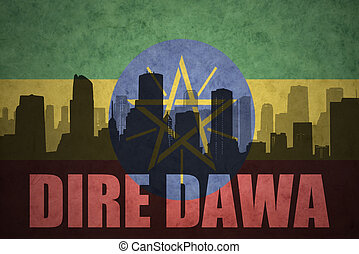 abstract silhouette of the city with text Dire Dawa at the...