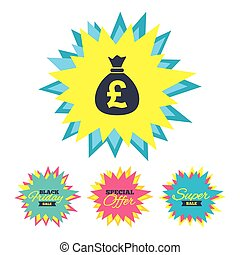 Money bag sign icon. Pound GBP currency. - Sale stickers and...