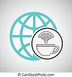 connection concetp globe coffee internet wifi vector...