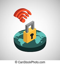 global connection wifi digital security vector illustration...