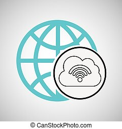 connection concetp globe cloud wifi vector illustration eps...