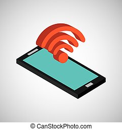 smartphone blue screen wifi vector illustration eps 10
