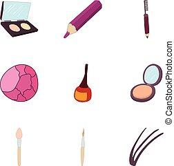 Cosmetics icons set, cartoon style