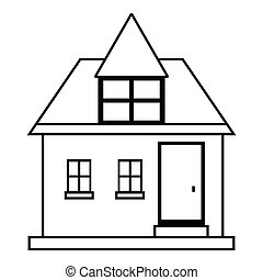 Cute country house icon, outline style
