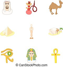 Holiday in Egypt icons set, cartoon style - Holiday in Egypt...