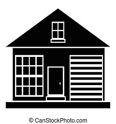 Small rural house icon, simple style - Small rural house...