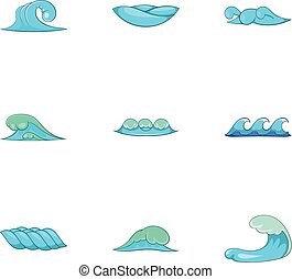 Ocean waves icons set, cartoon style