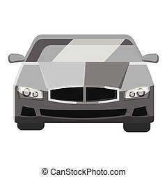 Car front view icon, gray monochrome style - Car front view...