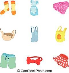 Underwear icons set, cartoon style - Underwear icons set....