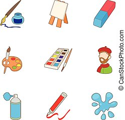 Painting icons set, cartoon style