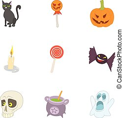All saints day icons set, cartoon style - All saints day...