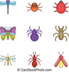 Varieties of insects icons set, cartoon style - Varieties of...