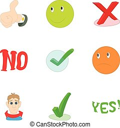 Yes no button icons set, cartoon style