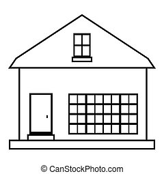 Small rural house icon, outline style - Small rural house...