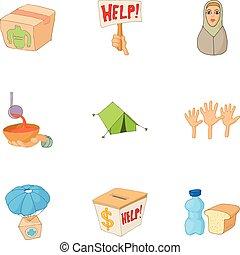 People fugitives icons set, cartoon style