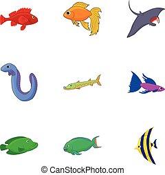 Inhabitants of sea icons set, cartoon style - Inhabitants of...
