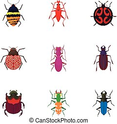 stile, Icone,  set,  coleoptera, ordine, cartone animato