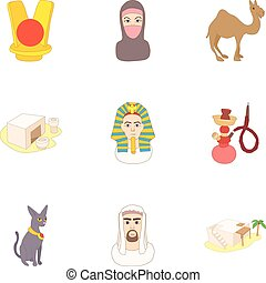 Attractions of Egypt icons set, cartoon style - Attractions...