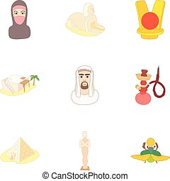 Country Egypt icons set, cartoon style - Country Egypt icons...