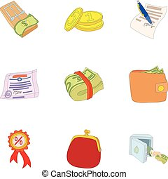 Wherewithal icons set, cartoon style - Wherewithal icons...