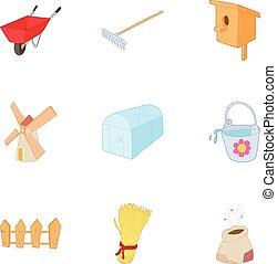 Garden icons set, cartoon style - Garden icons set. Cartoon...