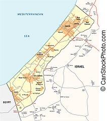 gaza strip map - gaza strip vector map