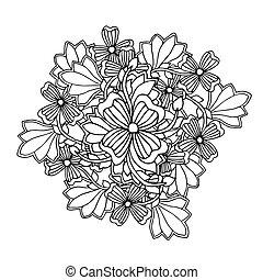 Mono color black line art element for adult coloring book...