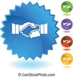 Handshake web button isolated on a background