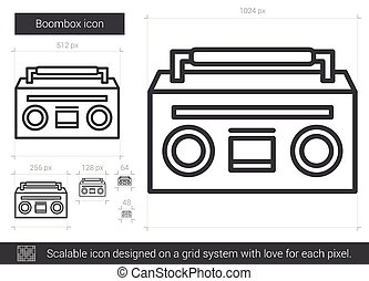 Boombox line icon. - Boombox line icon for infographic,...
