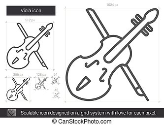 Viola line icon. - Viola vector line icon isolated on white...