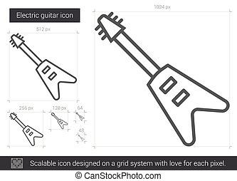 Electric guitar line icon. - Electric guitar vector line...