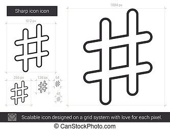Sharp line icon. - Sharp vector line icon isolated on white...