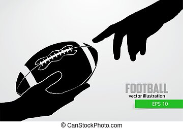 Hand holds the rugby ball, silhouette
