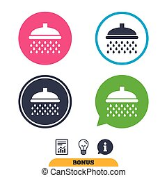 Shower sign icon. Douche with water drops symbol. Report...