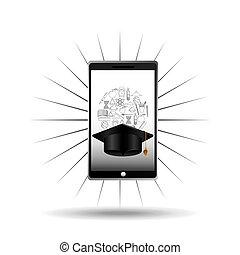 education online concept graduation cap icon