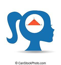silhouette head girl school geometri