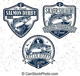 peixe, salmão, vetorial, pesca, ícone, logotipo