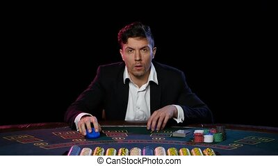 Online poker player winning in play. Close up - The game of...