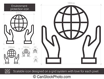 Environment protection line icon. - Environment protection...