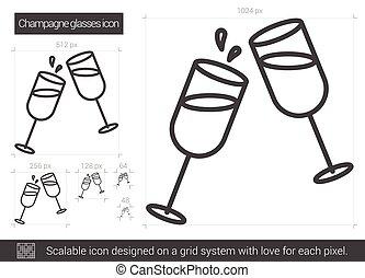 Champagne glasses line icon. - Champagne glasses vector line...