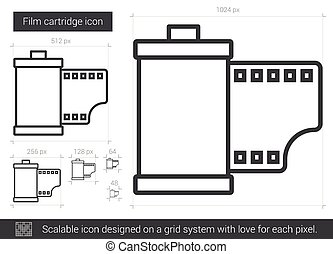 Film cartridge line icon. - Film cartridge vector line icon...