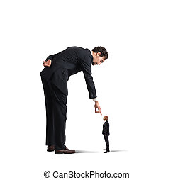Humiliation at work - Big businessman looking and pointing a...