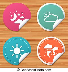 Cloud and sun icon. Storm symbol. Moon and stars. - Round...