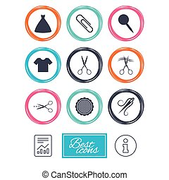 Tailor, sewing and embroidery icons. Scissors. - Tailor,...