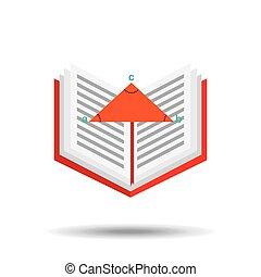 book school open and triangle geometri vector illustration...